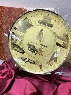 中國西安名勝鍍金銅盆
