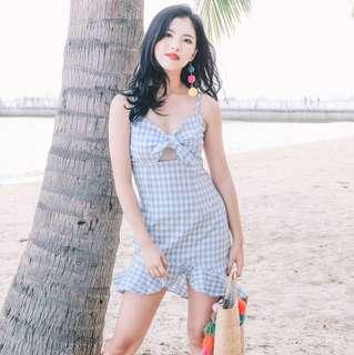 [PO] Gingham Blue Ribbon Tie Front Dress
