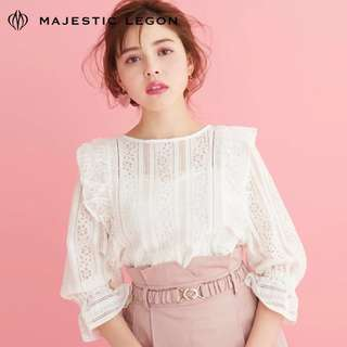 Majestic Legon 白色lace ruffle上衣