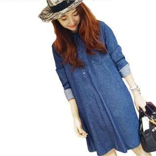 CASUAL DENIM DRESS DARK BLUE (Free Size)