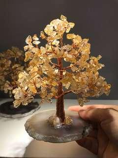 全新手作純天然黃水晶發財樹搭配原石瑪瑙片