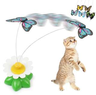 Electric rotating butterfly toy for cats and dogs