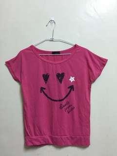 🚚 粉色微笑短t