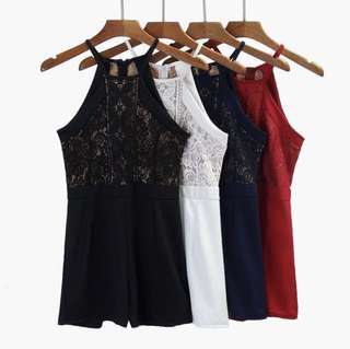 Navy Blue Lace Halter Romper [PRICE REDUCED]