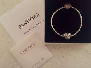 PANDORA Rose Pave Heart with Moments Silver Bracelet & Enchanted Heart ❤️