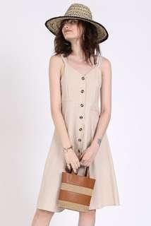 Supergurl Jamee Linen Dress (Sand)