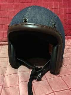 Vintage style denim design helmet