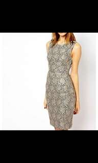 WAREHOUSE Gold Lace Dress