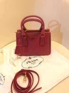 PRADA Saffiano Mini Double-Zip Tote Bag