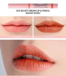 3CE Velvet Cream Lip and Pencil
