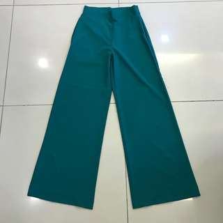 Turquoise High-waisted Wide-leg Pants