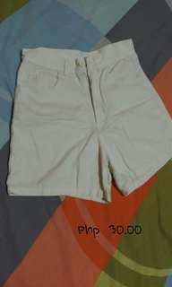 White high waste shorts