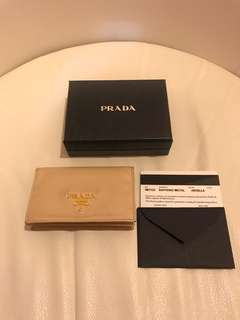 Prada Saffiano Leather Business Card Holder with Snap Closure