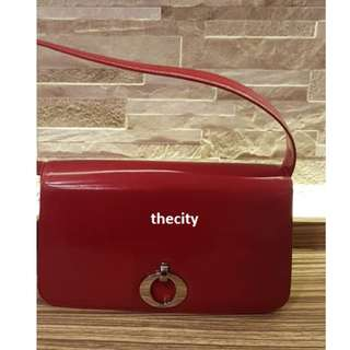 AUTHENTIC DIOR LEATHER SHOULER BAG - RED