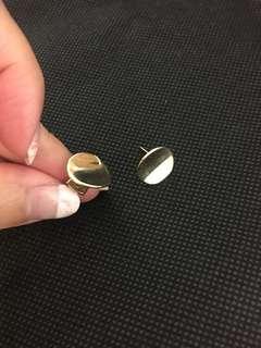 🚚 金色不規則圓形耳環