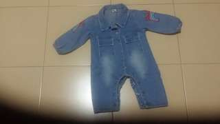 Toddlers long sleeve Denim with collar Jumpsuit