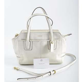 AUTHENTIC Coach White Leather Tote , With Long Sling Strap