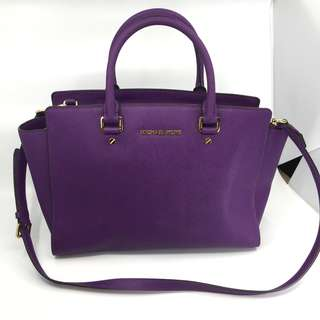 Michael Kors Selma Large Saffiano Leather Satchel Purple Colour