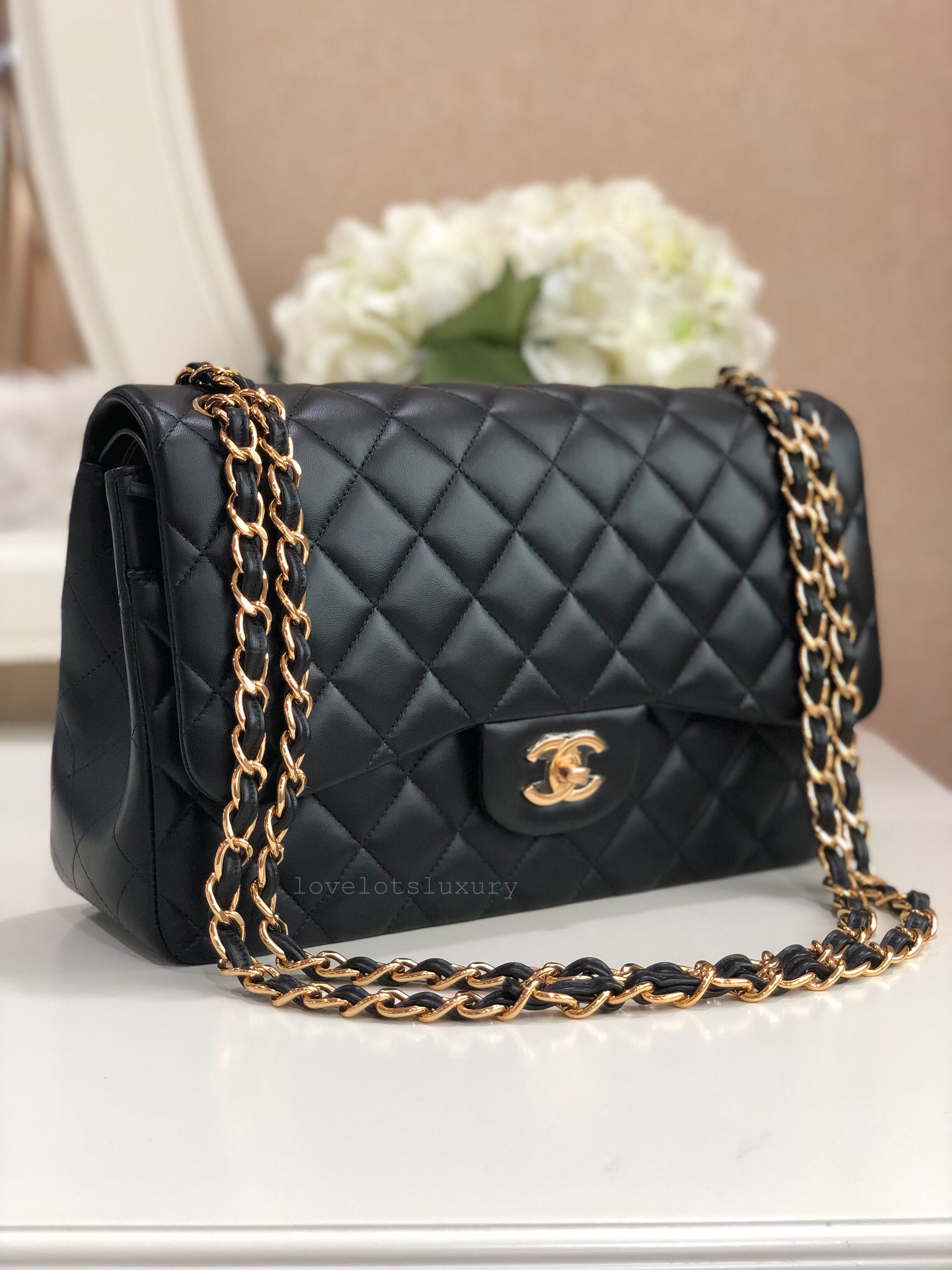 f2661b40555ce 24 series New Unworn Chanel Classic Double Flap Jumbo Black Lambskin ...