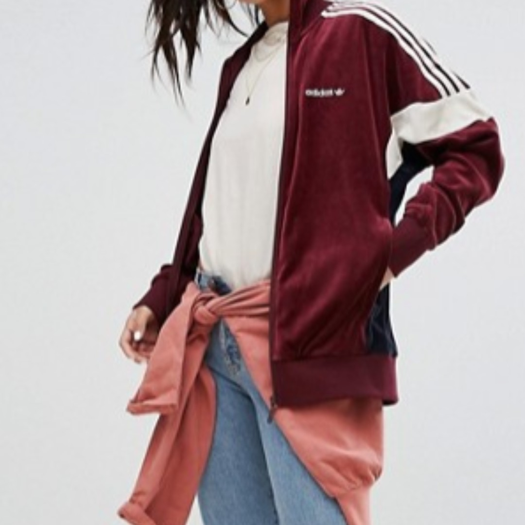 c19caa074060 Adidas originals burgundy red velour tracksuit top jacket