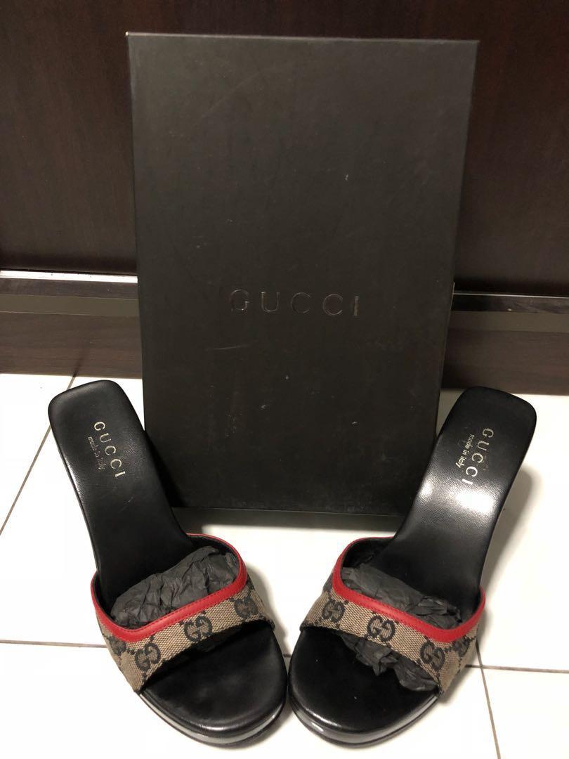 8a9d2859322c3 Authentic Vintage Gucci Monogram Wedge heels, Luxury, Bags & Wallets ...