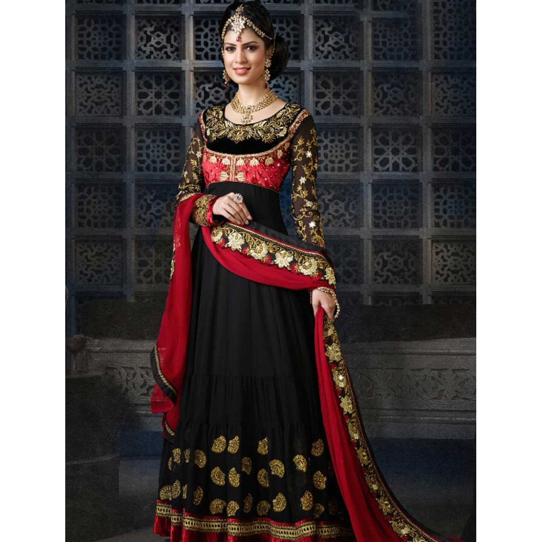 9361106336 BLACK RED EMBROIDERY WORK GEORGETTE FANCY DESIGNER LONG ANARKALI SUIT,  Women's Fashion, Clothes, Dresses & Skirts on Carousell