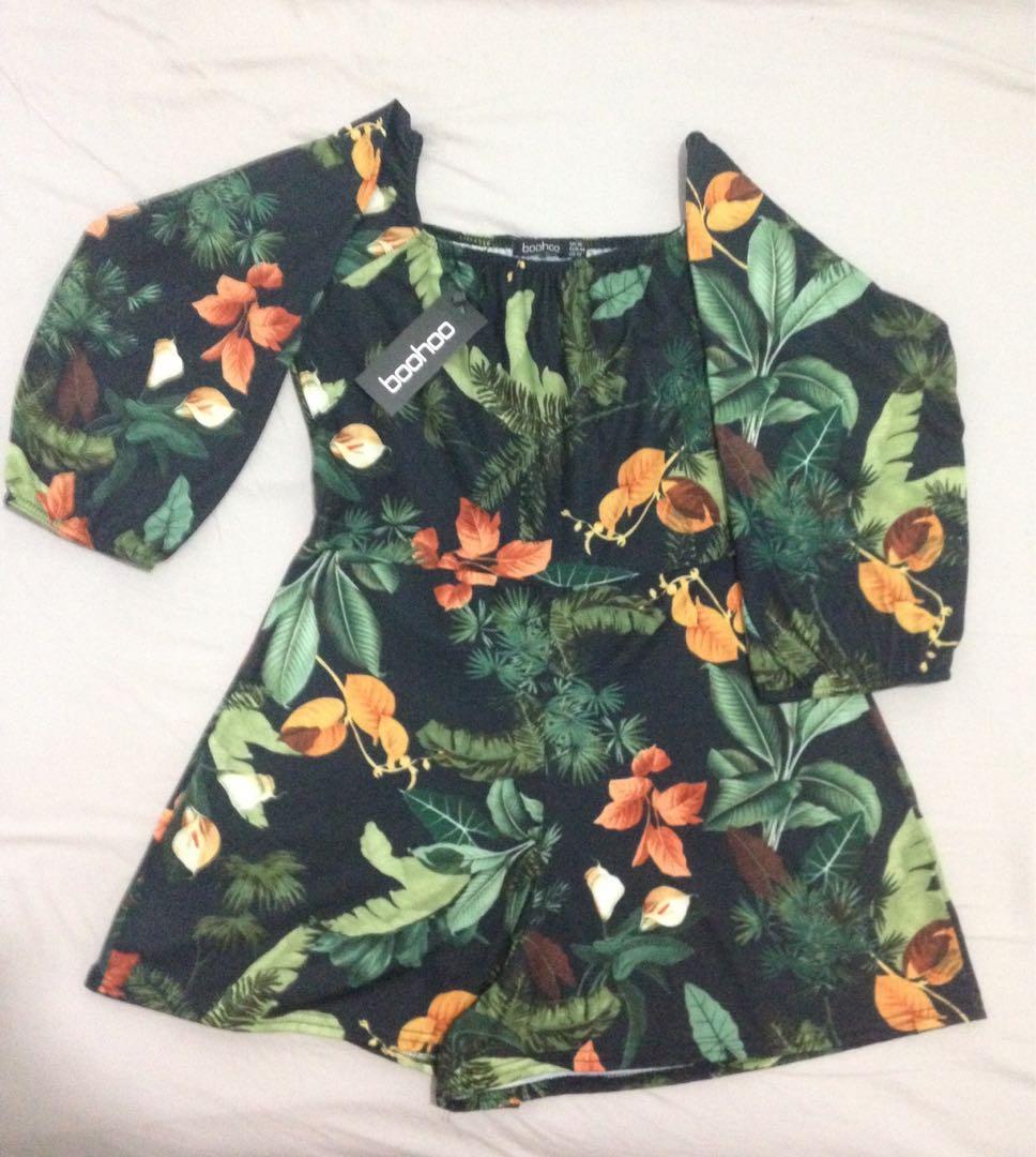 BooHoo floral off shoulder playsuit