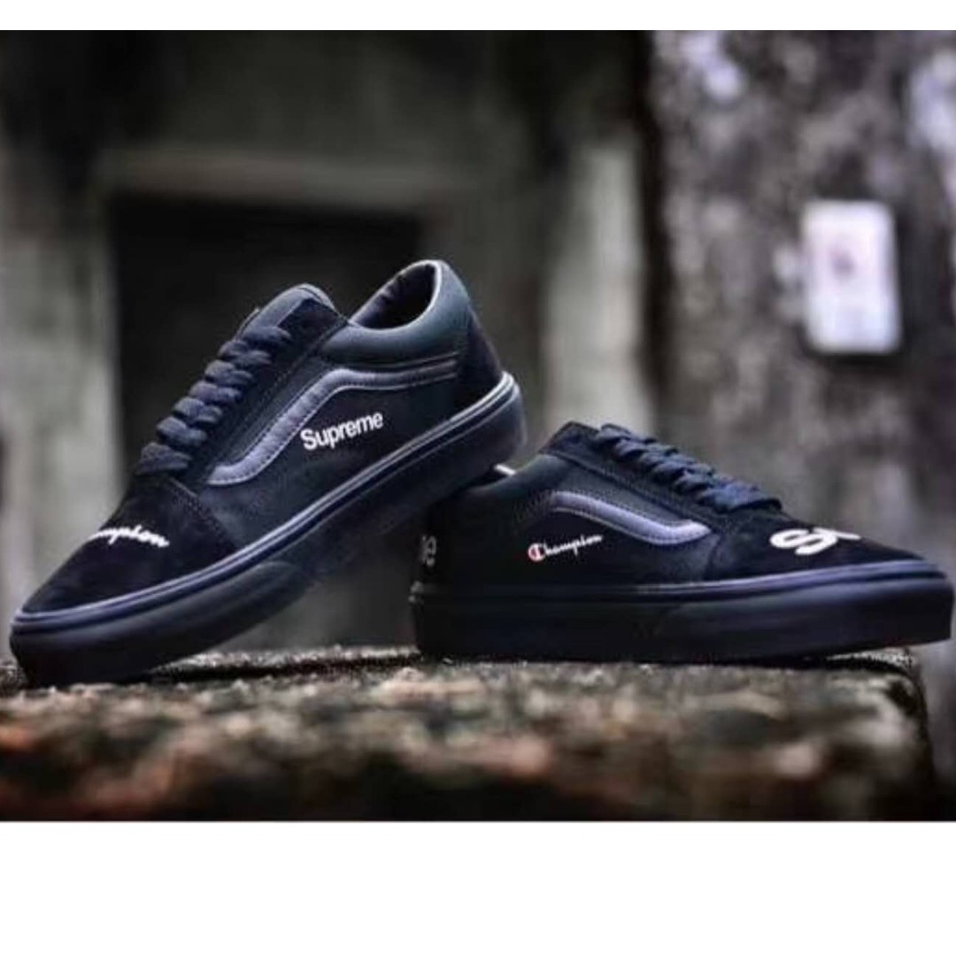 9f54223de2d19 Champion X Supreme X Vans Old Skool Full Black Skate Shoes (EU 36-44 ...