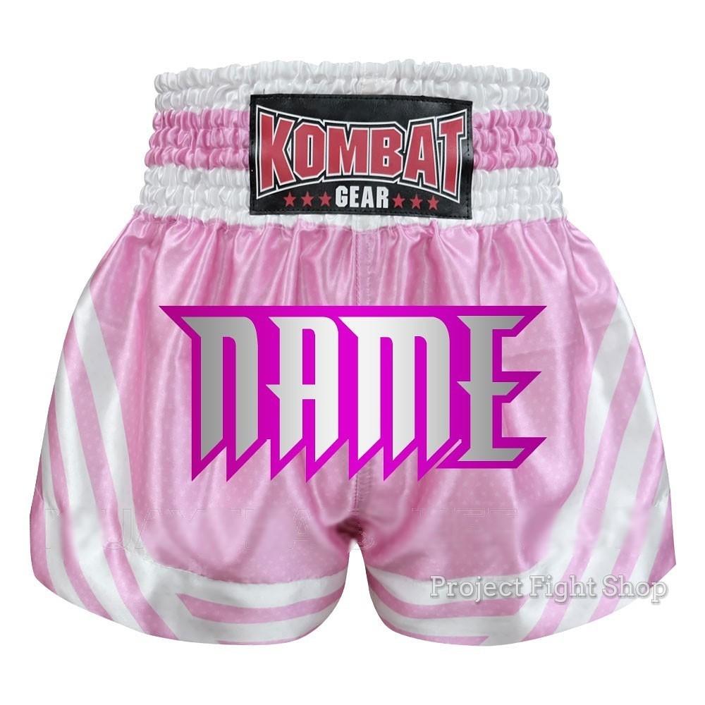 7b2abdf38a13 Customize Kombat Gear Muay Thai Boxing MMA Shorts Pink Stars w White  Stripes