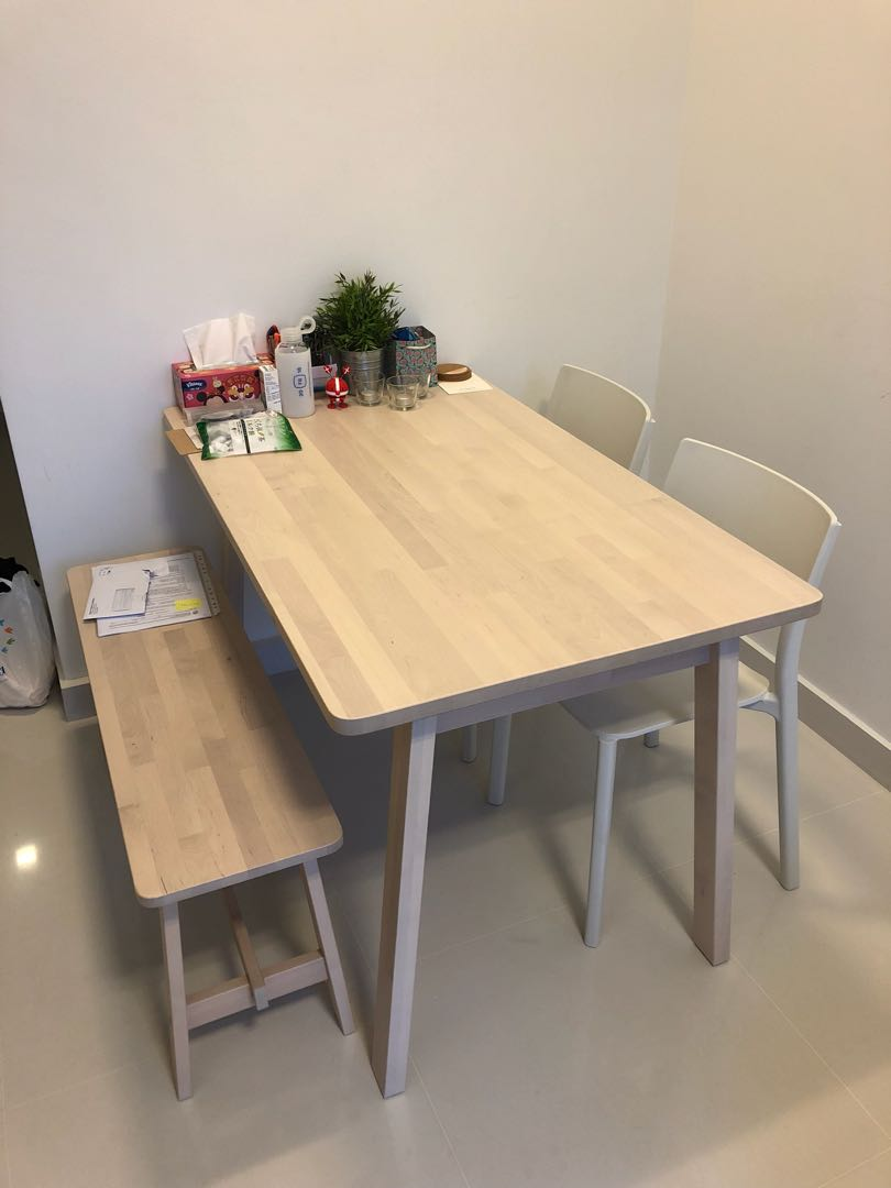 IKEA NORRAKER dining set (table, bench, 2x chairs ...