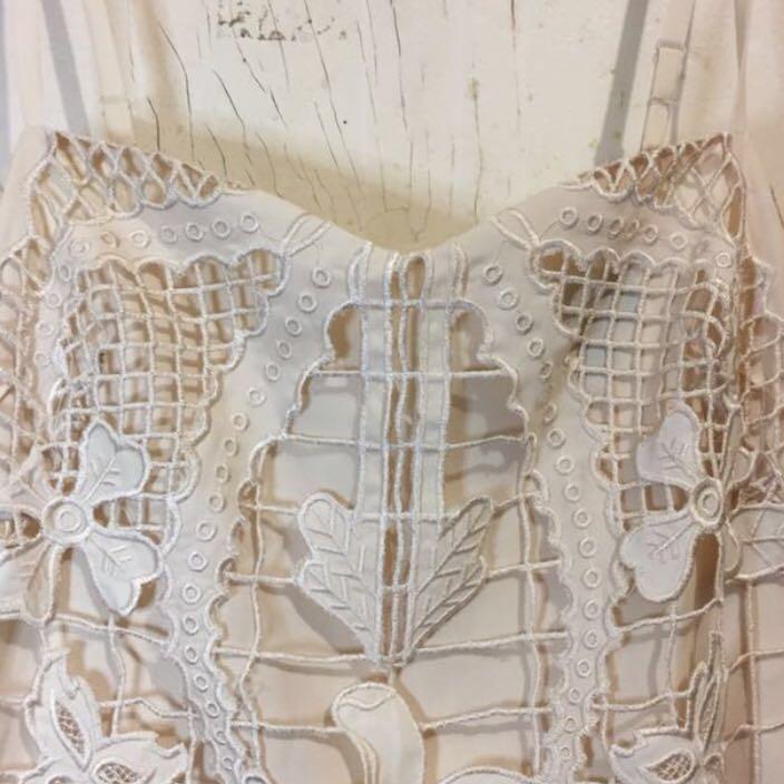 Lace laser cut cream dress