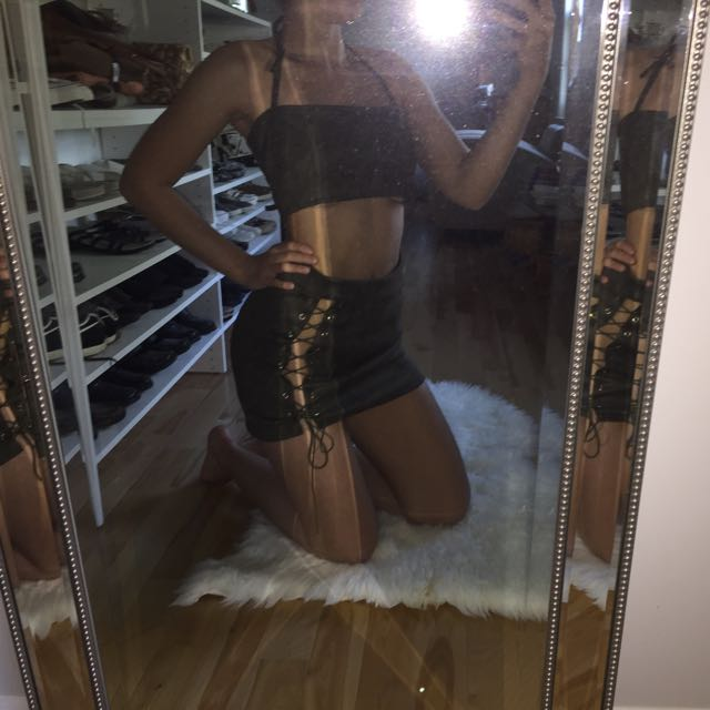 lace up bodycon skirt and strap crop top set
