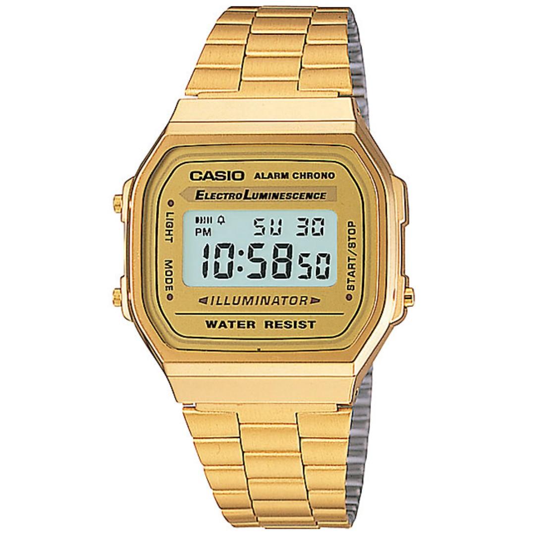 232bc480b5a Ladies Mid-Size Tone Digital Retro Watch LA-680WGA-9DF (Casio Gold ...