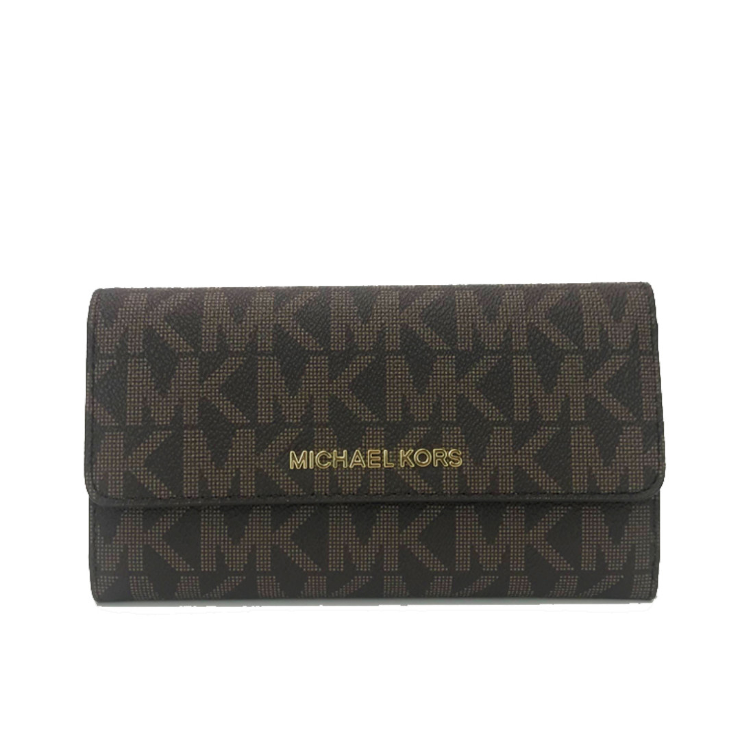 5a31334320f3d Michael Kors Jet Set Travel Large Trifold Wallet In Signature Coated ...