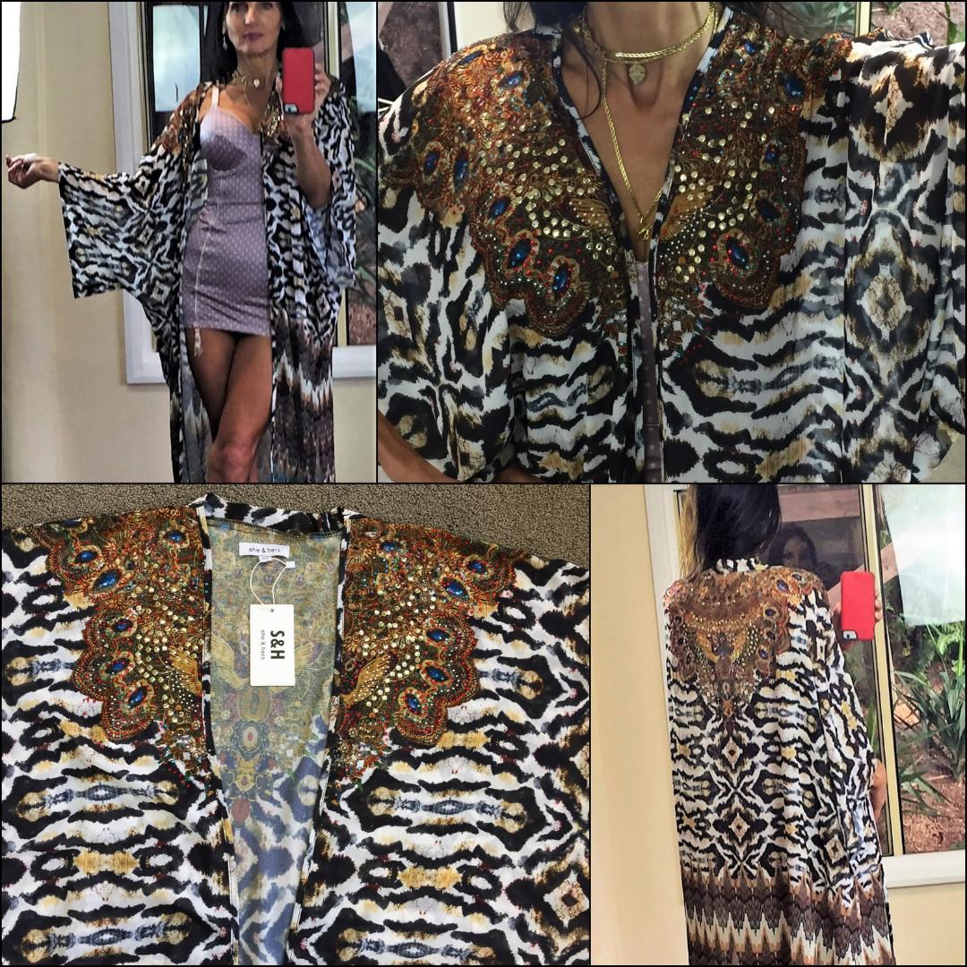 NEW CAMILLA style KAFTAN jacket coat LONG M tiger leopard bejewelled floaty NWT