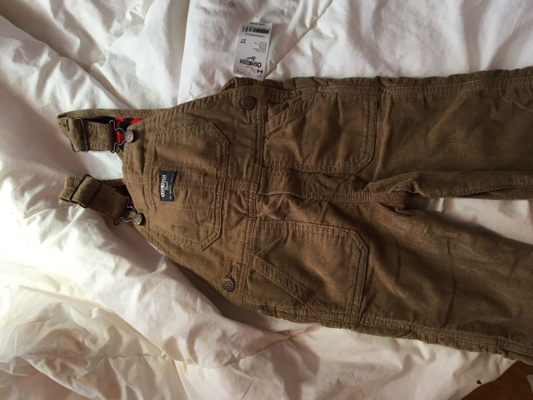 Oshkosh corduroy overalls plaid lining with tags