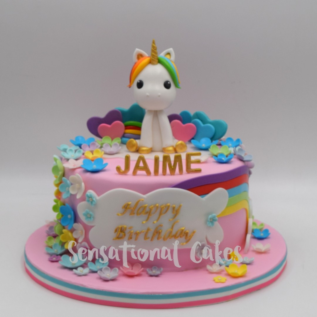 Rainbow Pony Flowers Pink Theme For Girls Birthday Cake Singapore Food Drinks Baked Goods On Carousell