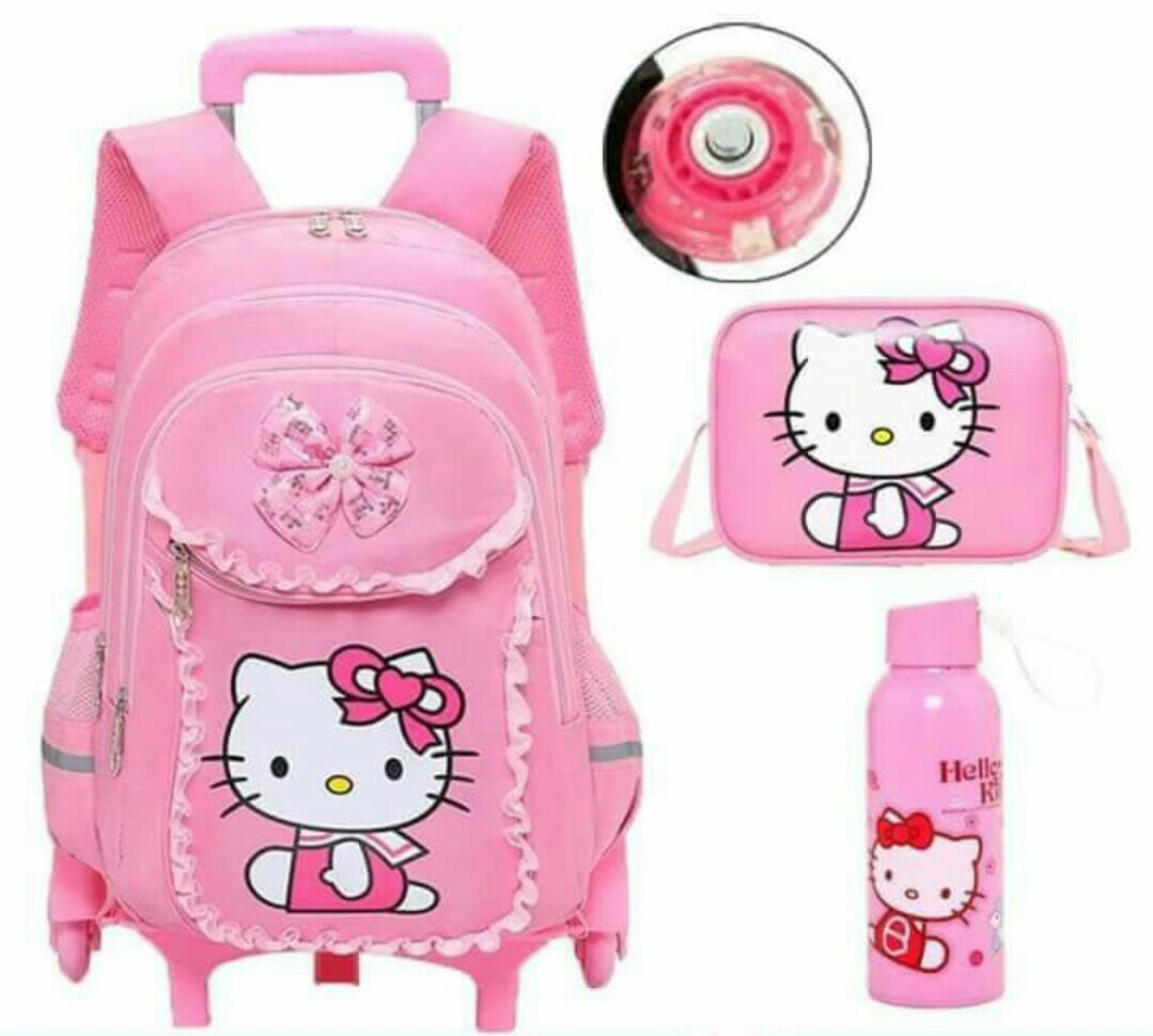 best quality 3d pink hello kitty trolley school ba official photos ... 02f7908303639