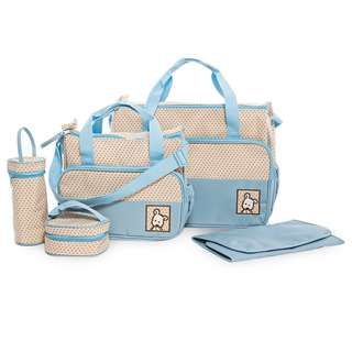 5PCS MULTIFUNCTIONAL DOT NAPPY CHANGING MUMMY HANDBAG DIAPER PAD FEEDING BOTTLE HOLDER FOOD BAG FOR BABIES