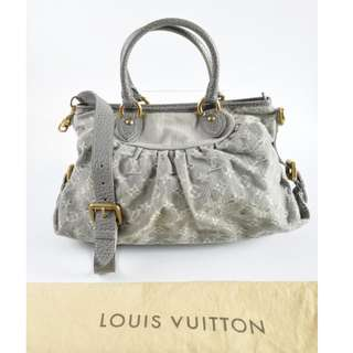 Authentic Louis Vuitton Grey Denim Monogram Denim Neo Cabby MM Tote Bag , with Long Sling Strap