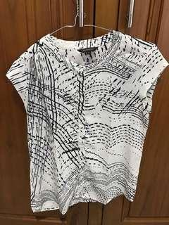 blouse executive putih corak hitam
