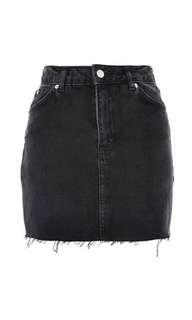 Topshop Black High-Waist Denim Skirt