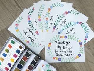 Floral wreath bridesmaid calligraphy cards