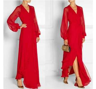 Red long sleeve long dress. Ladies long chiffon bandage dress