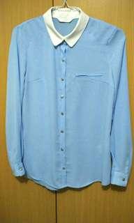 Blue Korean Chiffon Shirt