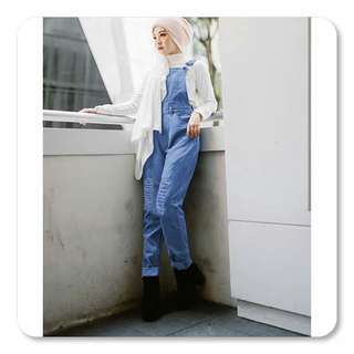Overall Ripped Jeans Jumsuit