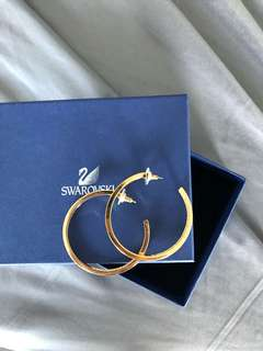 Swarovski NEVER WORN crystal and gold hoop earrings