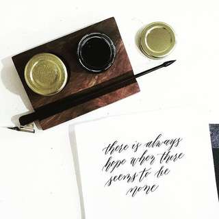 Varnished 2-Well Inkstand for Calligraphy