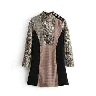 Plaid Mix Button Shoulder Dress (size S)