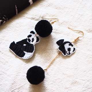 🚚 LENCI THE PANDA EARRINGS (EMBROIDERY PATCHES)